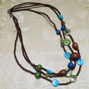 Vintage Necklace Multi Strand Shell Wood Boho